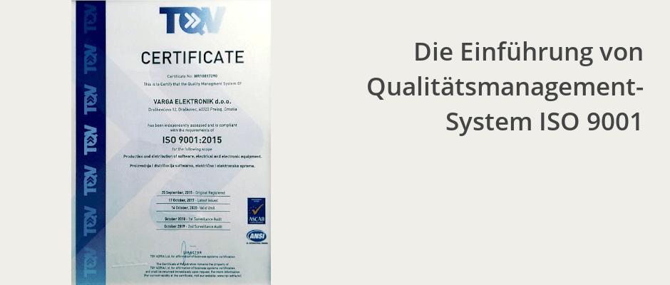 Die Einführung von Qualitätsmanagement-System ISO 9001