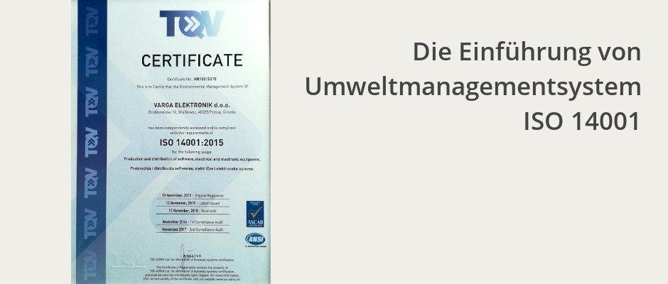 Die Einführung von Umweltmanagementsystem ISO 14001