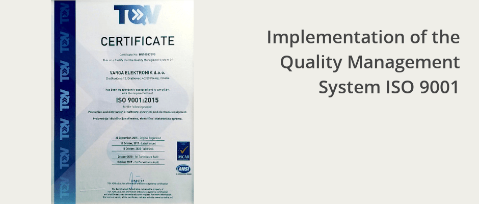 Read more about the article Implementation of the Quality Management System ISO 9001