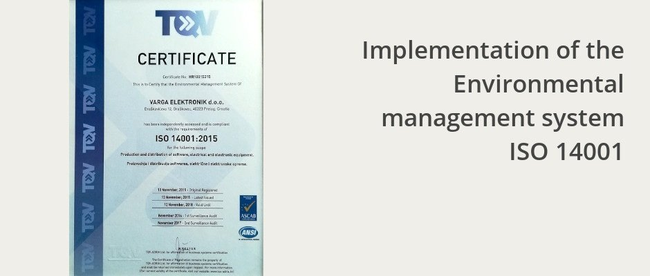 Implementation of the Environmental management system ISO 14001