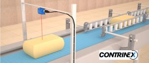 Miniature Ecolab-certified photoelectric sensor detects presence of cheese portions in high-volume food processing