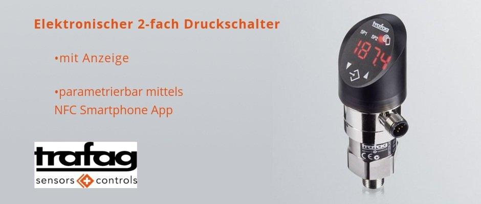 Elektronischer 2-fach Druckschalter mit Anzeige DPx 838x – auch parametrierbar mittels NFC Smartphone App