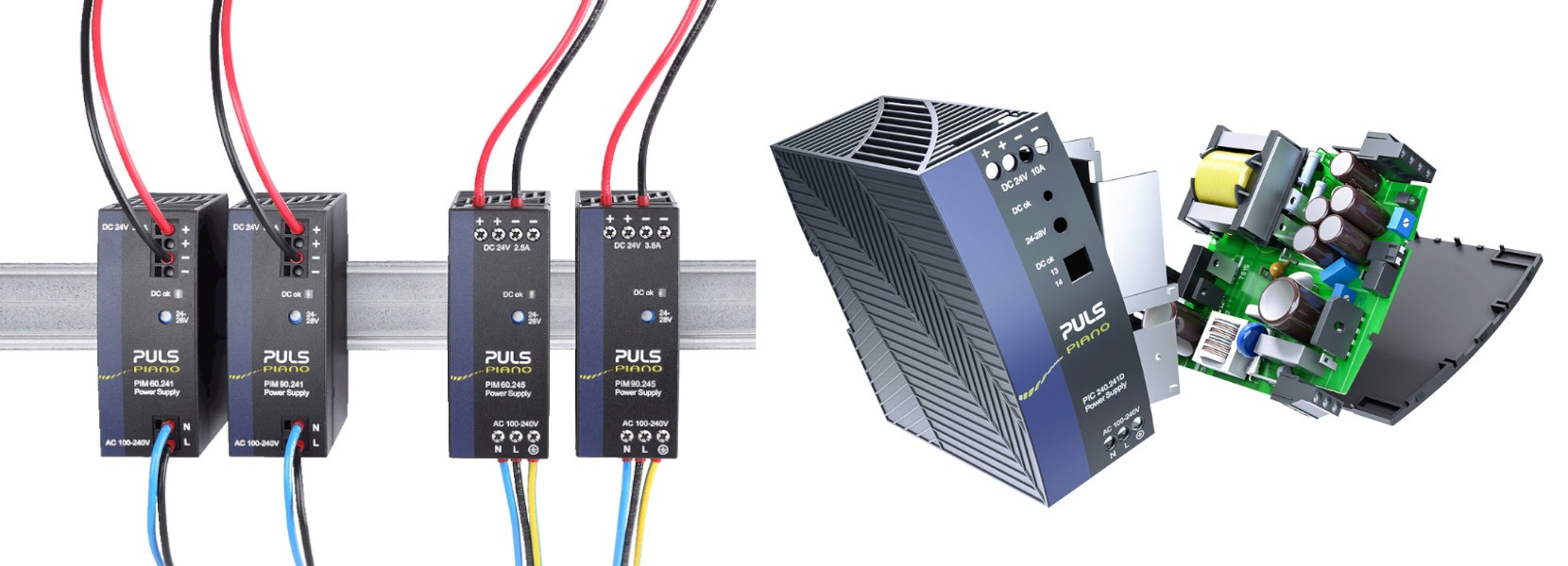 Read more about the article Compact 36W, 60W and 90W DIN rail power supplies with basic functionality