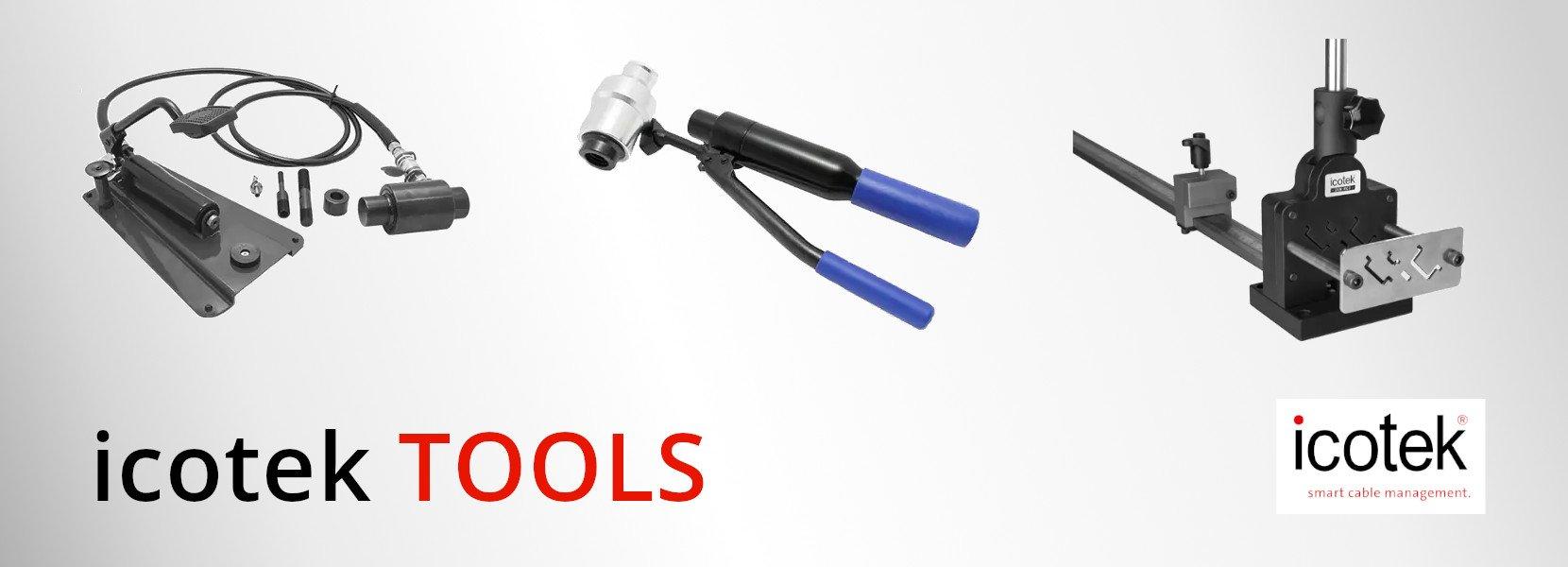icotek TOOLS – Hydraulik Stanzwerkzeug und Schneidgerät für Profilschien